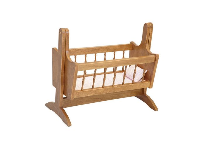 Baby doll rocking cradle bed amish handcrafted doll Wooden baby doll furniture