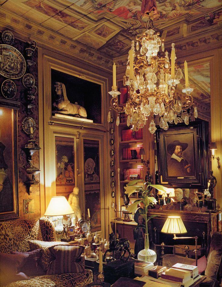 Yves Saint Laurent's Paris duplex. Above the fireplace in the library hangs a Frans Hals Portrait.