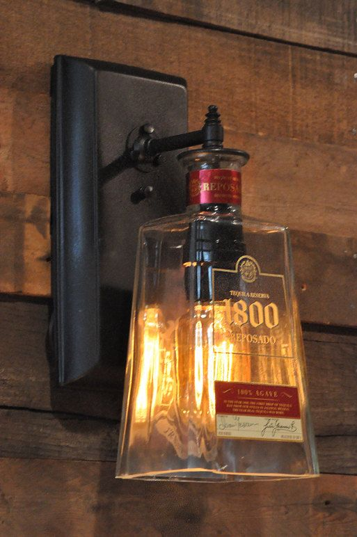 Recycled bottle lamp wall sconce 1800 Tequila Bottle....Johnny's basement bar