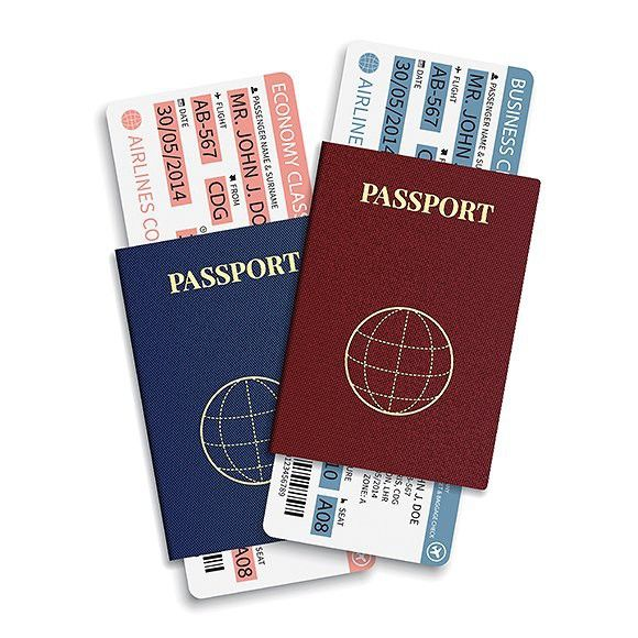 Passports with airplane tickets. Ticket Design Templates. $5.00
