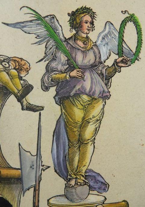Albrecht Dürer workshop: Venetian war No. 89, D.1, (A.91), detail, woodcut, Triumphal procession of Emperor Maximilian I., ca. 1516 - 1519, currently attributed to Hans Springinklee (?), 1516-18, coloured (17.cent.) Copyright: P.D.
