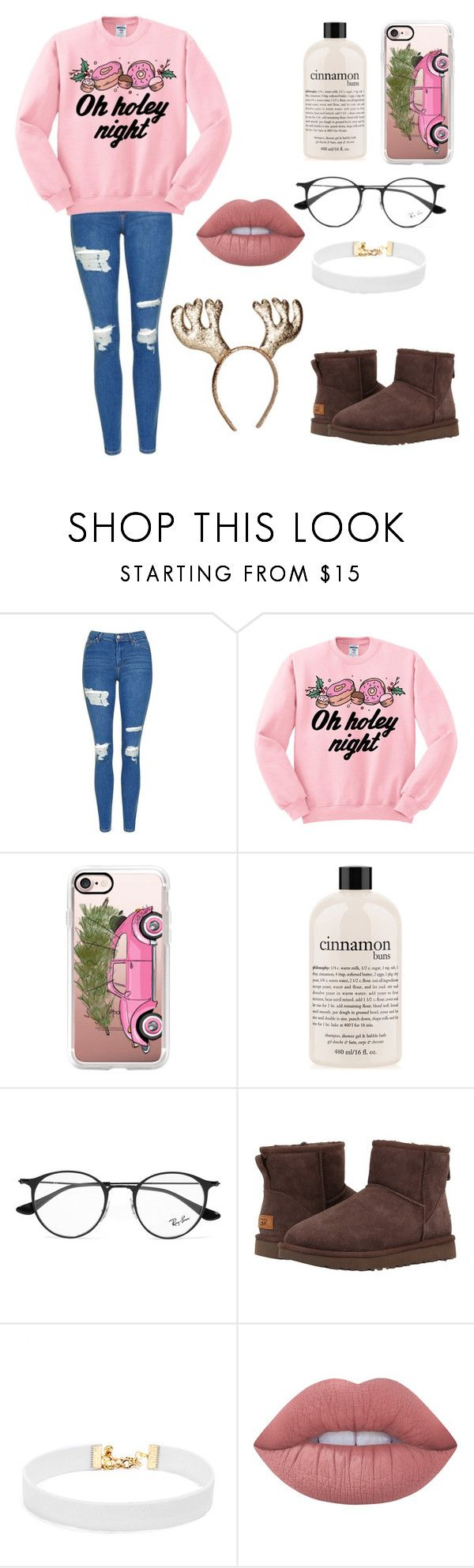 """""""Christmas Chills"""" by foodiefashion ❤ liked on Polyvore featuring Topshop, Junk Food Clothing, Casetify, philosophy, Ray-Ban, UGG Australia, H&M, Vanessa Mooney, Lime Crime and Winter"""