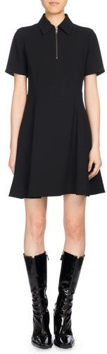 Kenzo Fit And Flare Polo Dress, Black