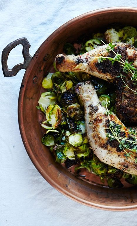 almond crusted thyme sage chicken + roasted brussels