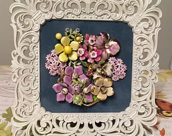 Vintage Jewelry Floral Art Collage Picture -- Pink and purple