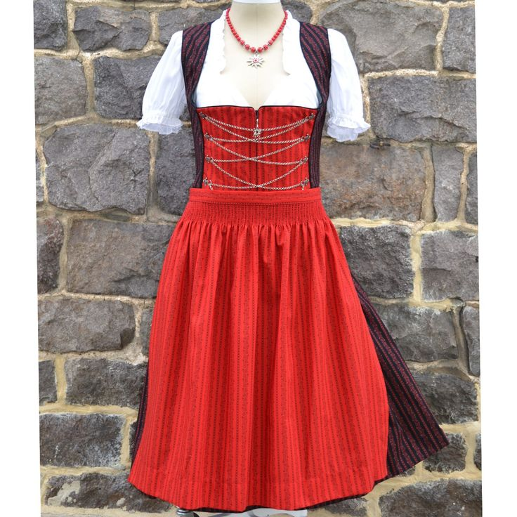Buy Black and Red Print Dirndl with Apron Online | Germany | Ernst Licht, USA