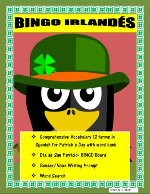 """BINGO+IRLANDÉS-+Irish+BINGO-Review+Colors/Gender/Nouns-+St.+Patrick's+in+Spanish+from+mherterma+from+mherterma+on+TeachersNotebook.com+(4+pages)++-+This+""""Bingo+Irlandés""""+package+is+very+helpful+to+celebrate+""""El+Dia+de+San+Patricio""""+in+your+classroom.+It+is+also+an+oral+listening+exercise.+"""