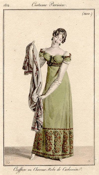 Green shawl gown 1812 Costume parisien