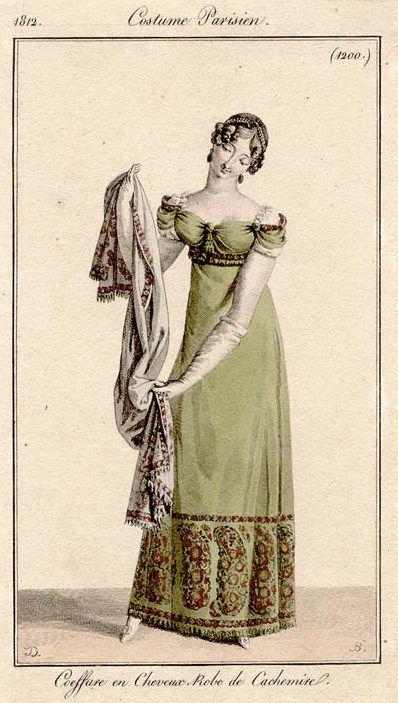 Green shawl gown 1812 Costume parisien