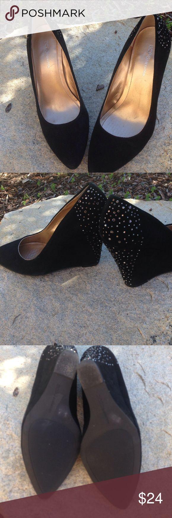 BCBGeneration Black Suede Wedges BCBGeneration black suede wedges with rhinestones on heels. Size 8B. Pre-loved. Minimal wear. BCBGeneration Shoes Wedges