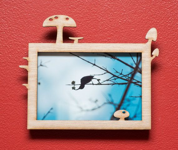Mushrooms laser cut mahogany wood picture frame by EliseKoncsek
