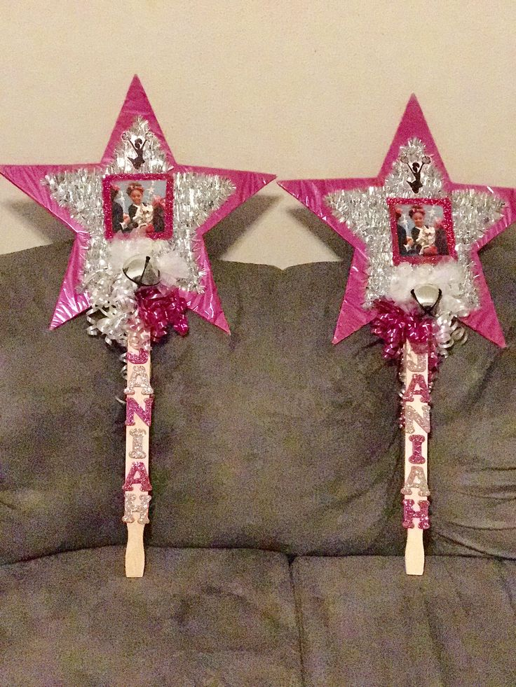 "Janiah's cheerleading competition ""spirit stick"" signs"