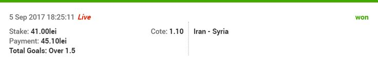 Hi guys, New tip for today (Football): Iran – Syria TIP: Over 1.5 ODDS: 1.10 Good luck!