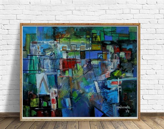 Geometric Landscape Abstract Art Oil Canvas Modern Painting