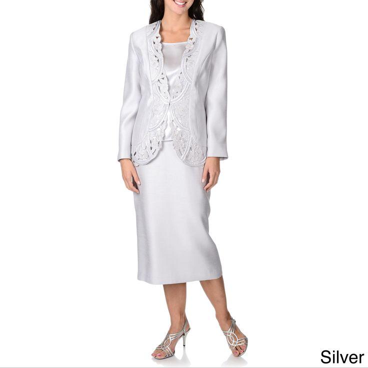 Giovanna Collection Women's Laser-cut 3-piece Skirt Suit
