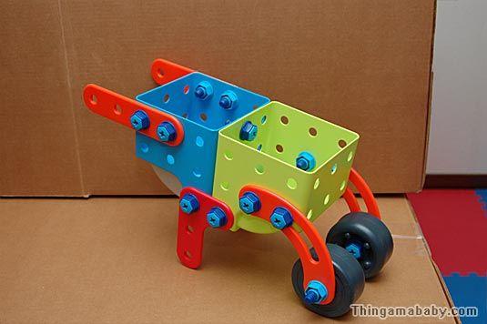 Photo of a plastic wheelbarrow.