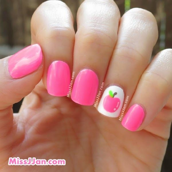 ♥ Tutorial ♥ Back to School ♥ Neon Apple Nail Art ♥ using Forever 21 Neon Pink Nail Polish ♥