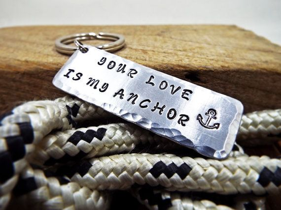 Your Love Is My Anchor  Nautical Keychain  by Aluminiopassions