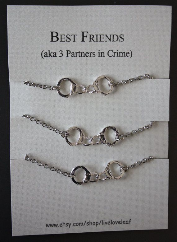 3 Partners In Crime Matching Best Friends Bracelets Silver Handcuffs Bracelet Charm Handchain Bff Jewelry On