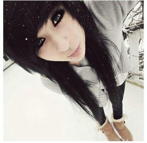 emo girl black hair snow