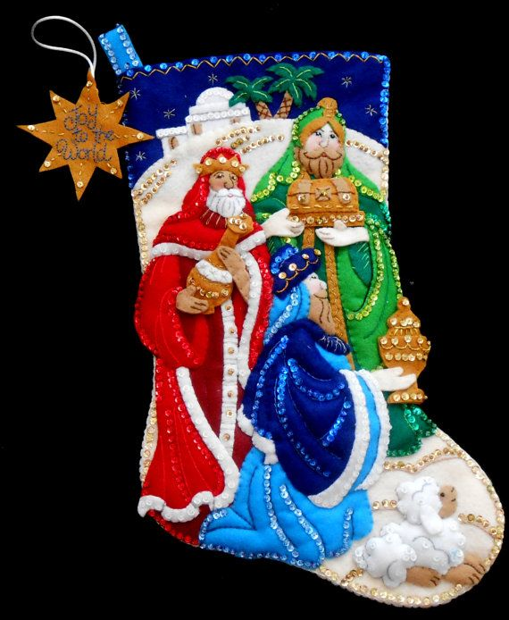 """Bucilla Felt Stocking """"THREE KINGS"""" Finished Handmade Completed 18"""" Lined Ready to Ship Christmas Holiday Beaded Christmas"""