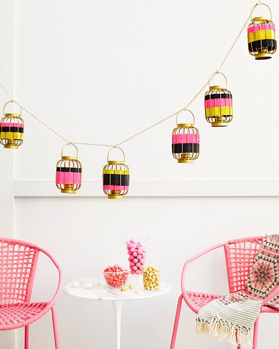 Striped Lantern Garland DIY