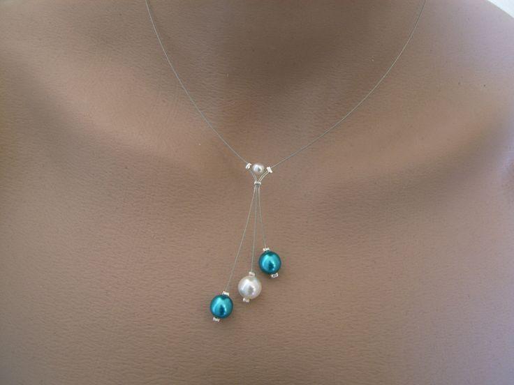Collier1' Original raffiné Ivoire ( ou blanc)/Bleu Turquoise p robe de Mariée/Mariage/Soirée, perle nacrées, (petit prix, pas cher) : Collier par oiana-creation