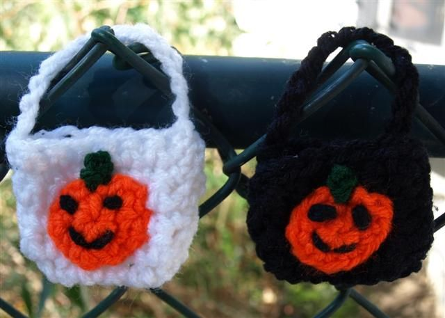 Tiny Halloween Bags - I made these using orange for the bag and green for the handles, then embroidered a jack-o-lantern face.  Big enough for one or two small pieces of candy.
