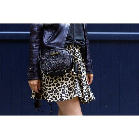 Pauca black silver | Black croco print leather bag with silver hardware