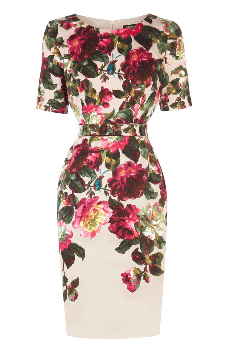 A stunning floral dress in a classic cut.