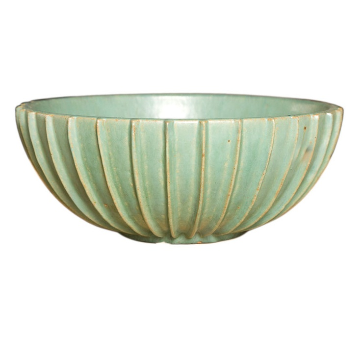 LARGE BOWL BY ARNE BANG , DENMARK 1930 denmark 1930 a beautiful arne bang bowl in a light green finish. signed and marked on bottom