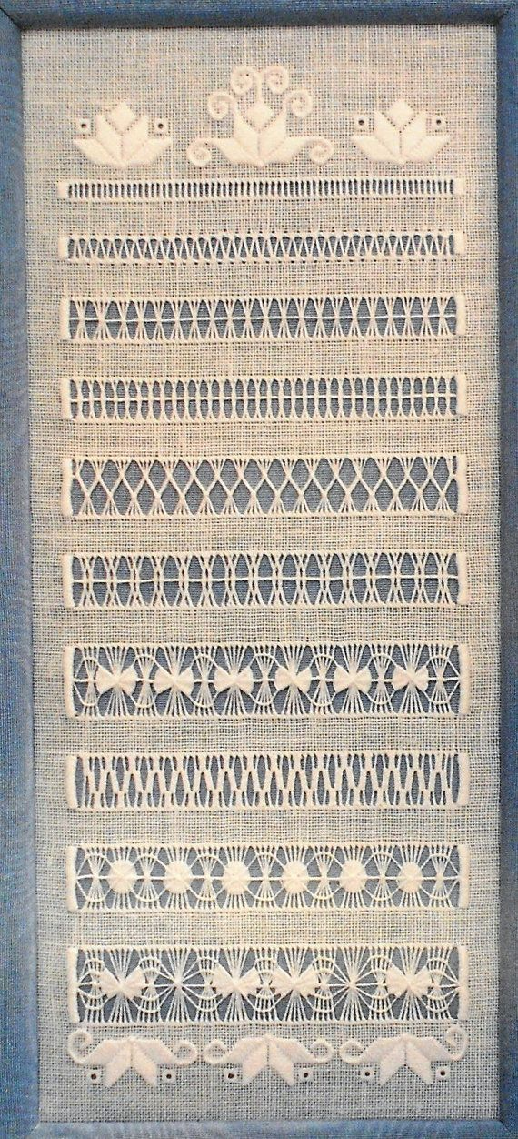 Drawn Thread Hardanger Embroidery Sampler. BAINHAS ABERTAS                                                                                                                                                                                 Mais