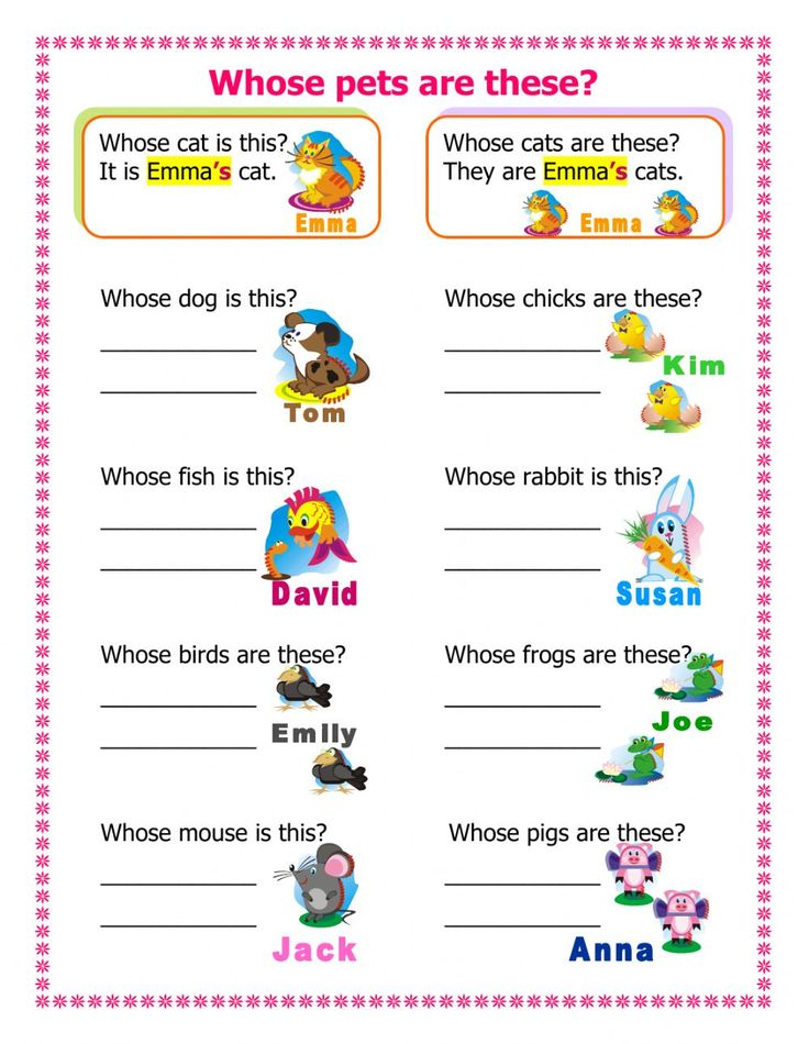 Whose pets are these? Interactive worksheet Ejercicios