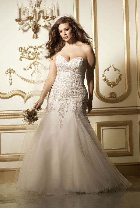 """Brides.com: Designer Plus-Size Wedding Dresses We Love. """"Vega"""" ivory textured organza beaded lace motif strapless wedding dress with fit-and-flare skirt, $1,900, Wtoo  See more Wtoo wedding dresses."""