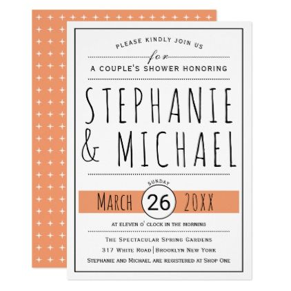 Typography coral peach wedding couple's shower card - wedding shower gifts party ideas diy cyo personalize