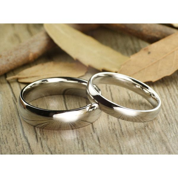 Spectacular His and Hers Matching White Gold Polish Wedding Bands Rings mm and