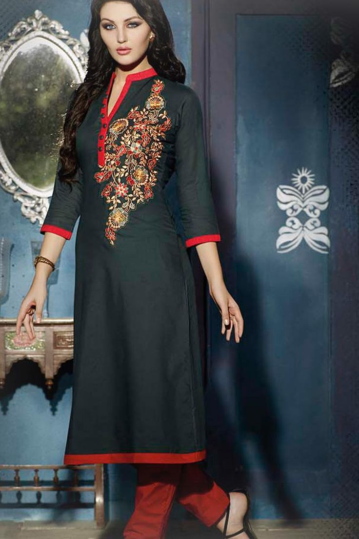 Grey Stitched Embroidery Designer kurti