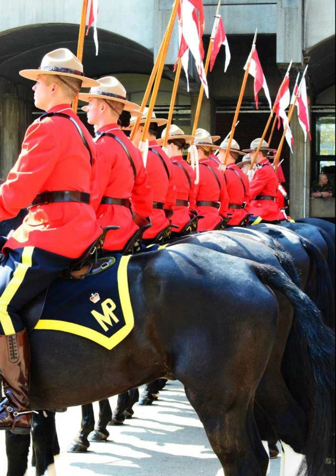 Hyde Park Barracks, Knightsbridge - Royal Canadian Mounted Police in London for the Queen's Diamond Jubilee - with Royal Household Cavalry Mounted Regiment