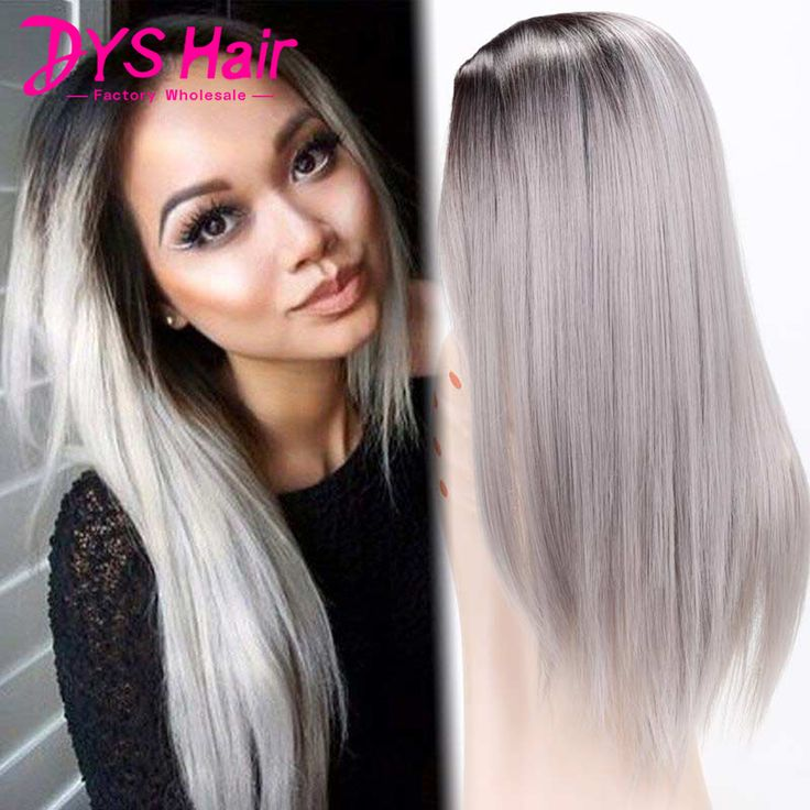 Hot Black Grey Ombre Wig Hair Long Straight Synthetic Wigs For Black Women Perruque Synthetic Women Pelucas Pelo Natural Cosplay