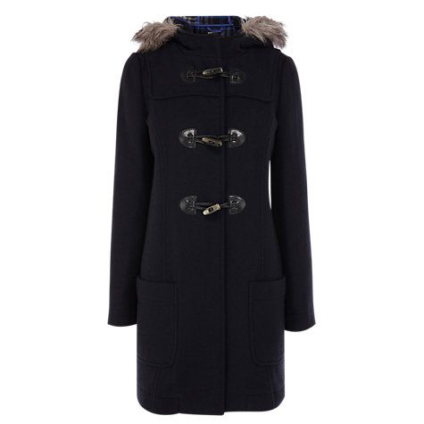 Buy Oasis Duffle Check Hood Coat, Blue Online at johnlewis.com