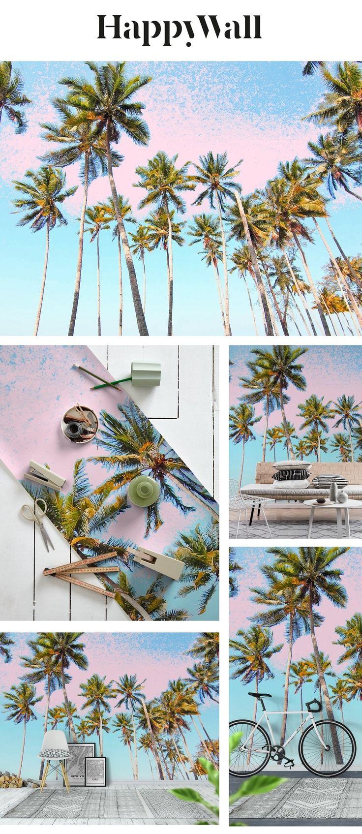 Coconut Palms Wallpaper Palm wallpaper, Tree mural, Wall