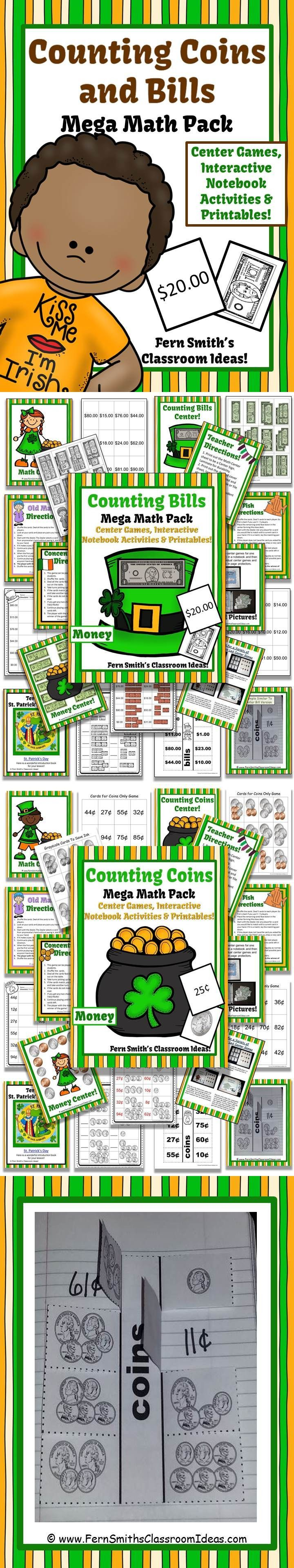worksheet Counting Bills 345 best money activities for k 3rd grade images on pinterest st patricks day counting coins and bills mega math pack with two freebies