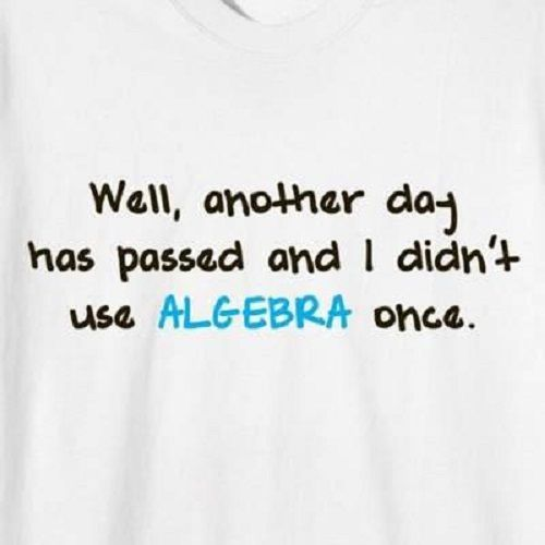 Exactly!! I so remember when teachers always swore you'd use algebra every day of your life...so not true!