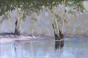 River Scene with Sacred Ibis - Oil on canvas - Artist John Beattie