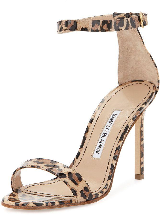 Manolo Blahnik Chaos Leopard-Print Patent Sandal