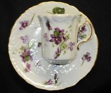 HAMMERSLEY ENGLAND SPODE VICTORIAN VIOLETS TALL DEMI TEXTURE TEA CUP AND SAUCER