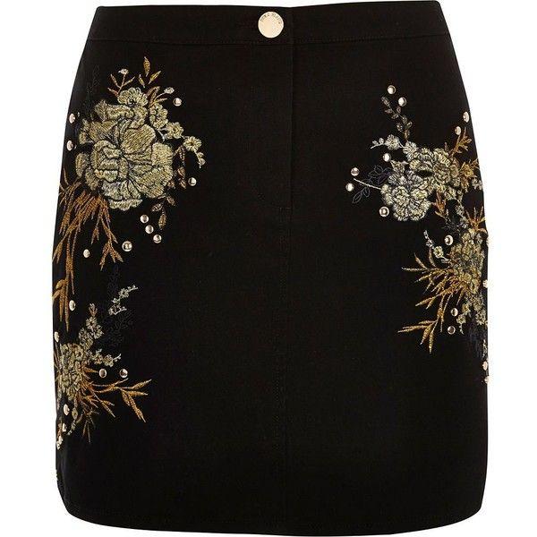 River Island Black embroidered floral stud mini skirt ($70) ❤ liked on Polyvore featuring skirts, mini skirts, black, women, floral print skirt, short floral skirt, flower print skirt, mini skirt and tall skirts