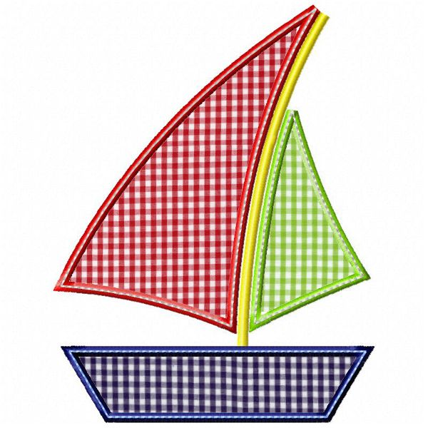 Sailboat 2 Applique embroidery boutique