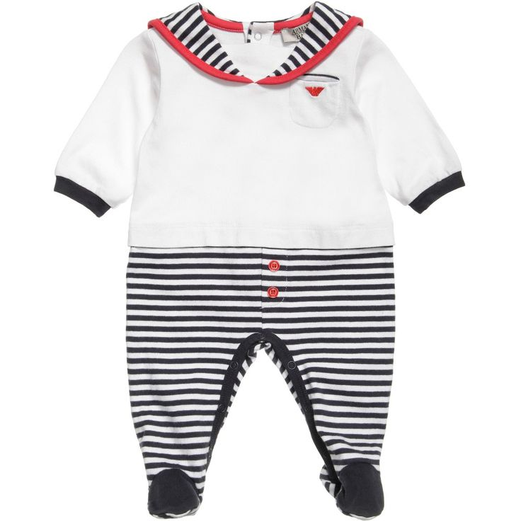 Armani Baby boys adorable babygrow with feet made from soft cotton jersey, designed to look like a little sailor outfit.