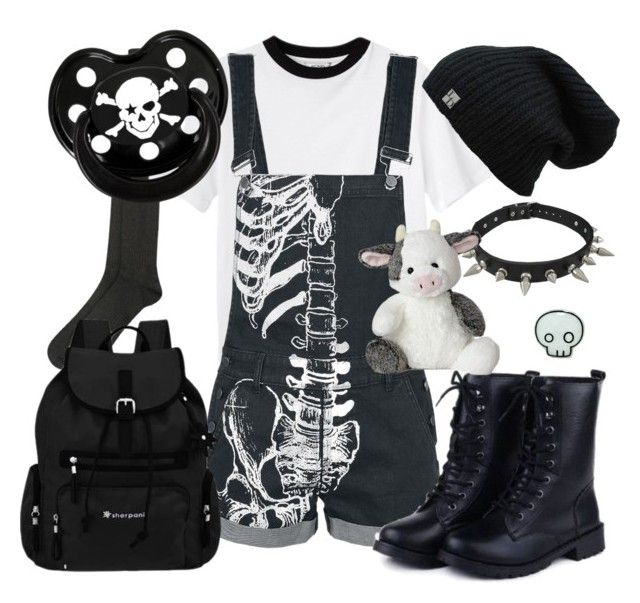 """Punk Baby"" by little-prince-galacta ❤ liked on Polyvore featuring HotSquash, Monki, Sherpani, Sunsteps, Rock Star Baby, black, Punk, littlespace, kiddiecore and kidcore"
